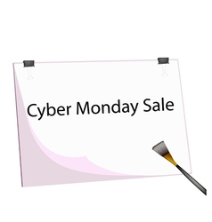 Clipboard and paintbrush with word cyber monday vector