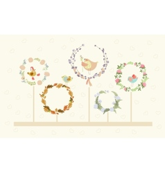 cute floral wreaths and birds vector image