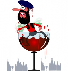 Cartoon arab in wine goblet vector