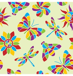 Summer mosaic seamless pattern vector