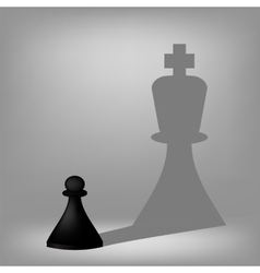 Black pawn with king shadow vector