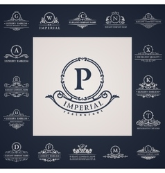 Luxury vintage logos set calligraphic letter vector