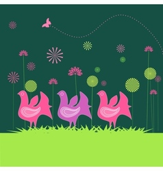 Colorful hen and flowers vector