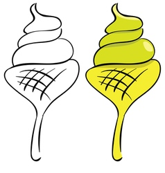 Set ice cream black outline and painted vector