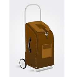 Brown trolley suitcase vector