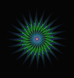 Green and blue star fractal abstract vector