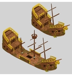Ancient pirate boat with two types vector