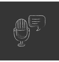 Microphone with speech square drawn in chalk icon vector