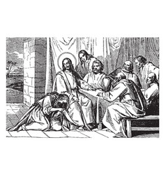 A woman washes and anoints jesus feet vintage vector