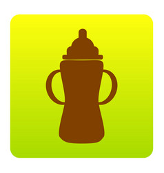 Baby bottle sign brown icon at green vector