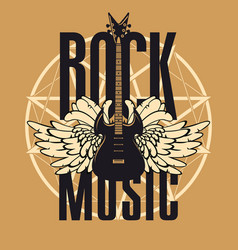 banner for rock music with guitar and wings vector image