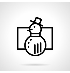 Black simple line snowman icon vector image vector image