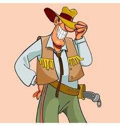 cartoon smiling elegant man cowboy vector image vector image