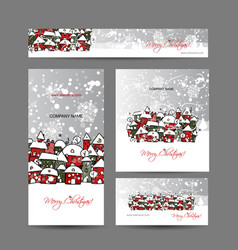 Christmas cards with winter city sketch for your vector
