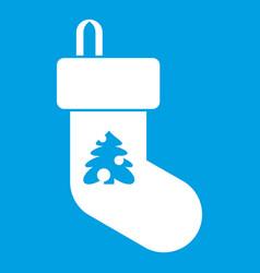 Christmas sock icon white vector