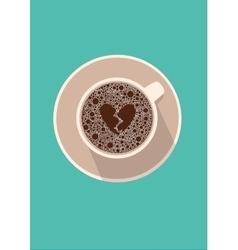 Coffee cup icon with broken heart vector image vector image