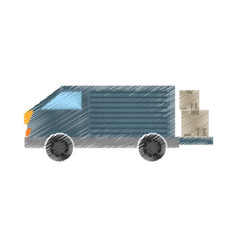 Drawing truck delivery transport cardboard box vector