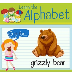 Flashcard letter g is for grizzly bear vector
