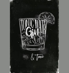 Gin tonic cocktail chalk vector