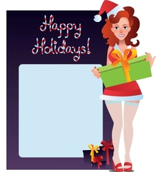 happy holidays card with sexy girl vector image