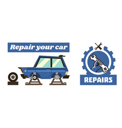 Horizontal banner template on car repairs repair vector