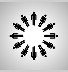 Man silhouettes arranged in round dance black vector