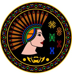 Mayan woman and hieroglyphs vector