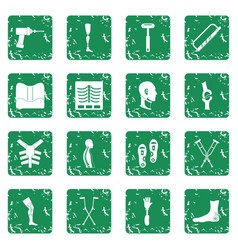 Orthopedics prosthetics icons set grunge vector