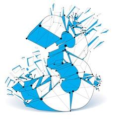 Perspective technology demolished blue number 3 vector image vector image