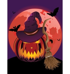 Pumpkin and Red Moon2 vector image vector image