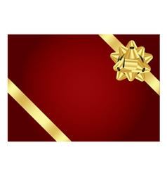 red background with gold bow vector image vector image