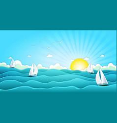 sailing boats in wide summer ocean vector image