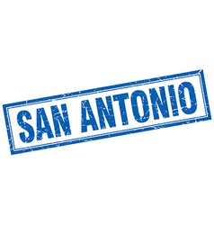San antonio blue square grunge stamp on white vector