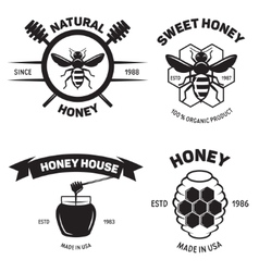 Set of vintage honey labels badges logotypes and vector image