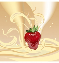 Strawberries with milk vector