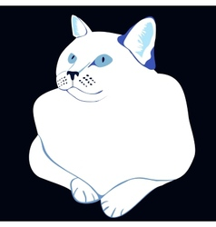 Stylized white cat vector