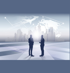 Two business man silhouette businesspeople human vector