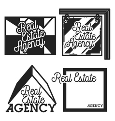 Vintage real estate agency emblems vector