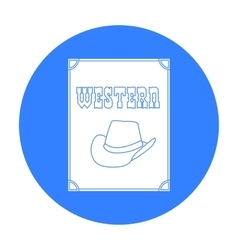 Western movie icon in black style isolated on vector