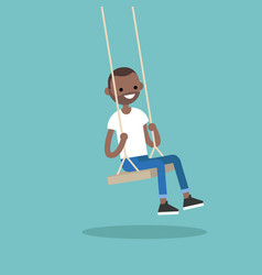 young black guy sitting on the swing editable vector image vector image