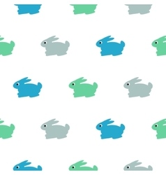 Rabbit blue green on white kid pattern vector