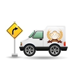 Bakery delivery truck with left turn road vector