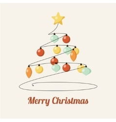 Retro greeting card with decorated christmas tree vector