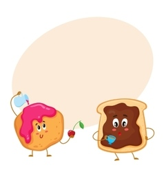 Funny toast with chocolate spread and donut vector