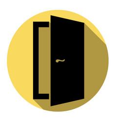door sign flat black icon vector image