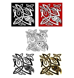 Ornamental birds in celtic style vector image