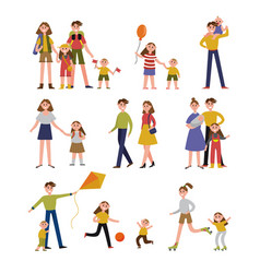 Family activity and leisure family set colorful vector