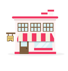 Shop house flat design vector