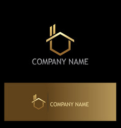 gold house realty company logo vector image