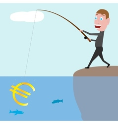 Businessman catching euro vector